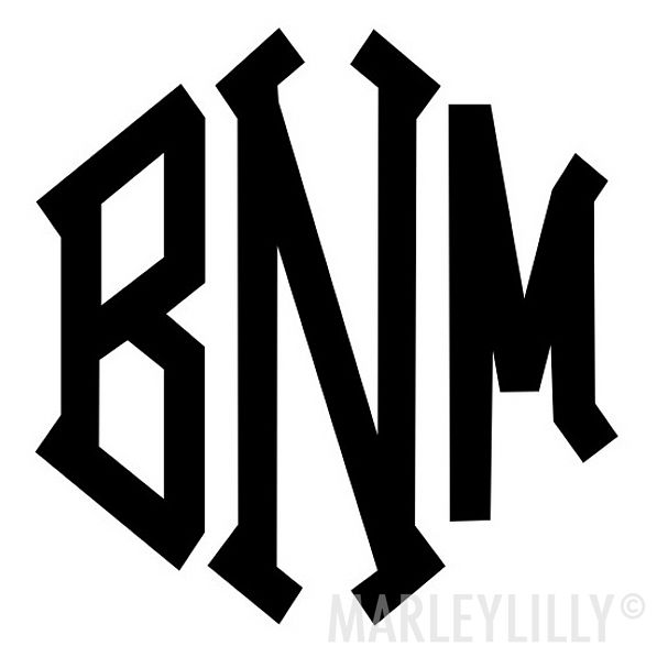 Monogrammed 10 inch Decal Stickers