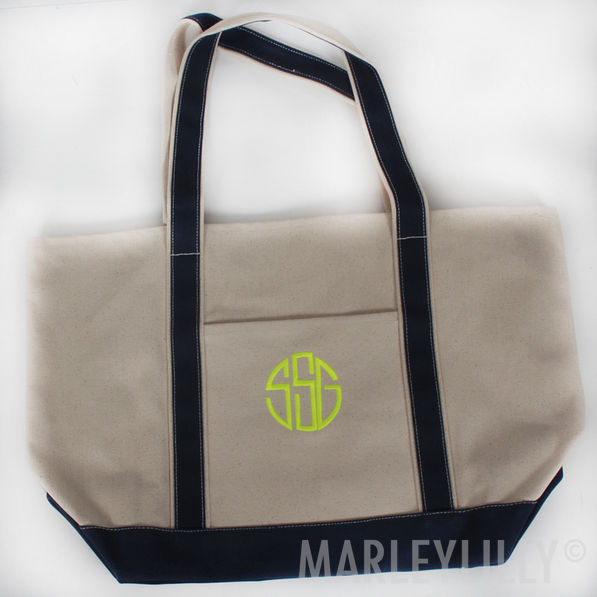 BLOOPER: Monogrammed Extra Large Canvas Boat Tote