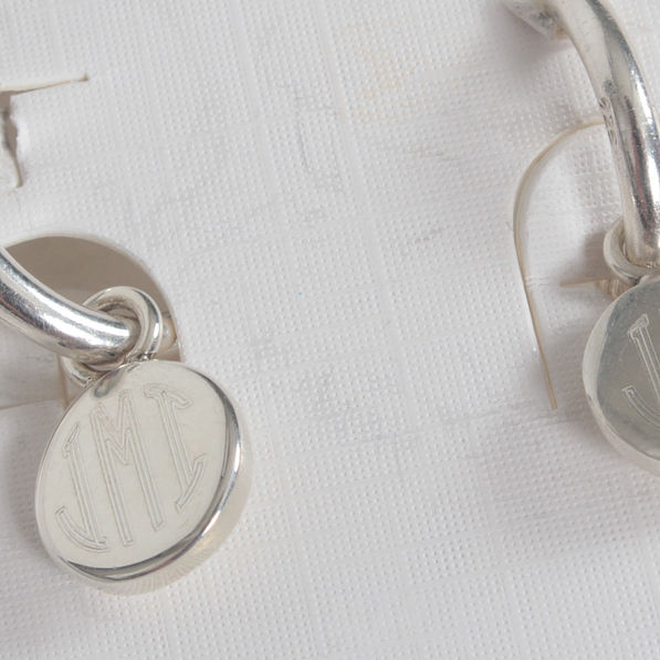 BLOOPER: Monogrammed Small Round Disc on Small Hoop Earrings