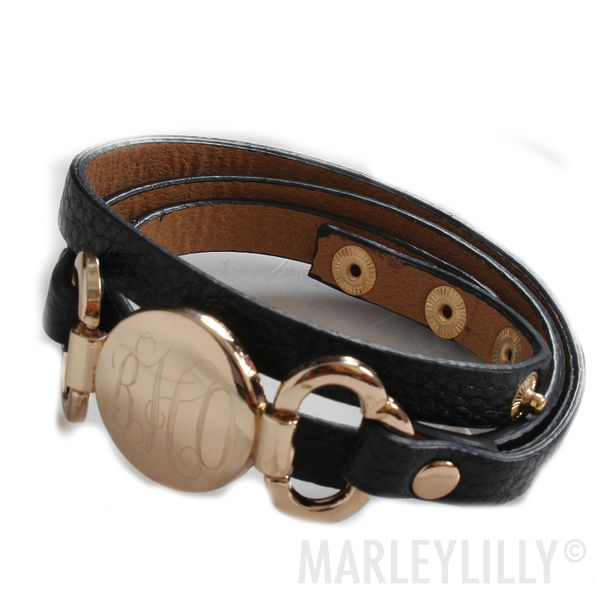 BLOOPER: Monogrammed Leather Wrap Bracelet
