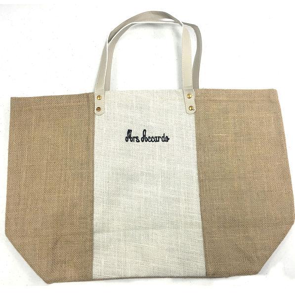 BLOOPER: Monogrammed Colorblock Jute Bag