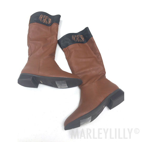 BLOOPER: Monogrammed Colorblock Riding Boots