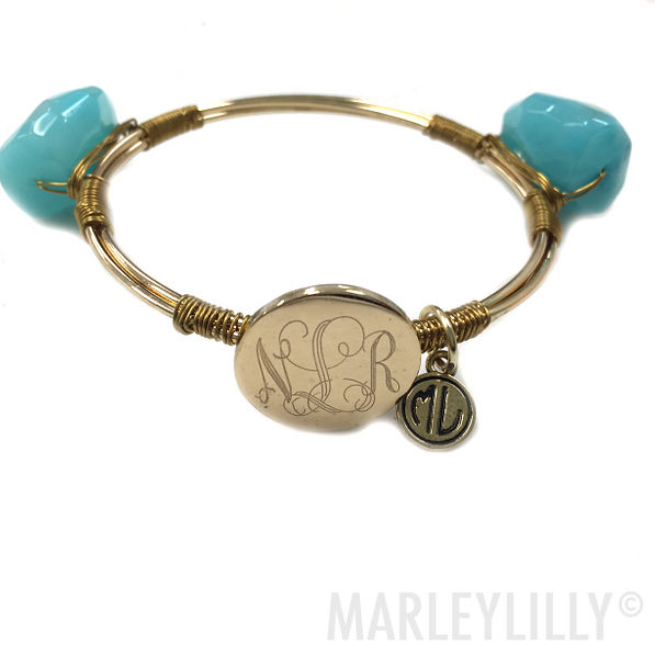 BLOOPER: Monogrammed Wire and Stone Bangle
