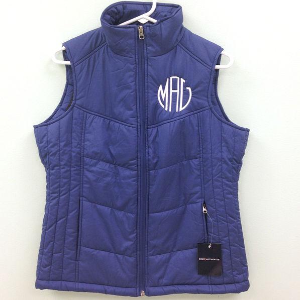 BLOOPER: Monogrammed puffy vest