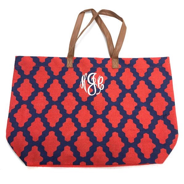BLOOPER: Monogrammed Large Pattern Jute Bag