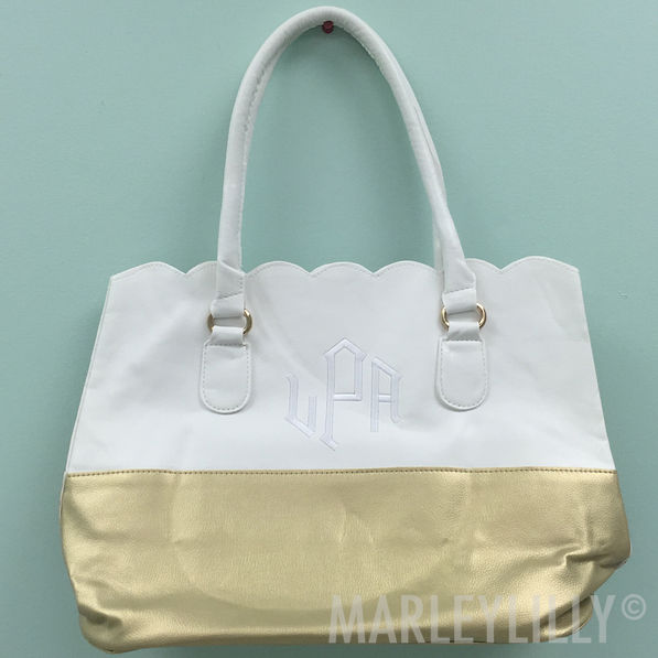 BLOOPER: Monogrammed Scalloped Tote Bag