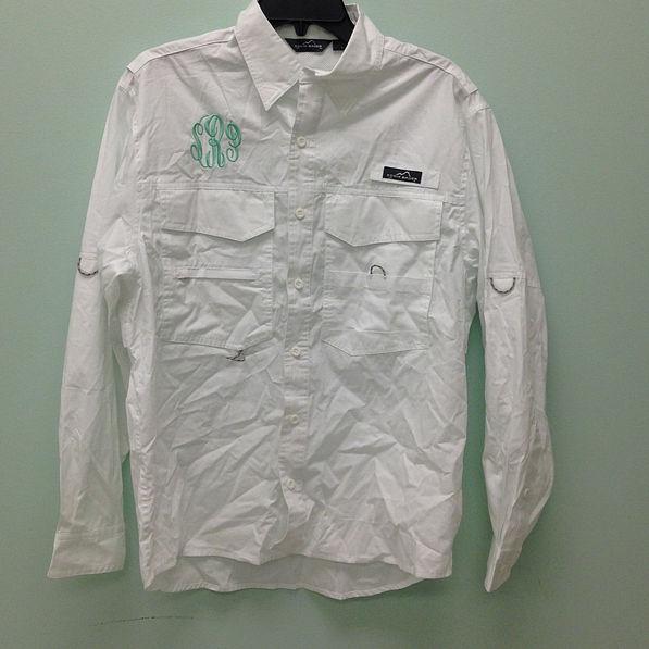 BLOOPER: Monogrammed Long Sleeve Fishing Shirt