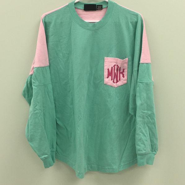 BLOOPER: Monogrammed Colorblock Pocket Pullover Jersey