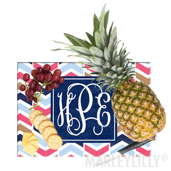 Monogrammed Large Glass Cutting Board