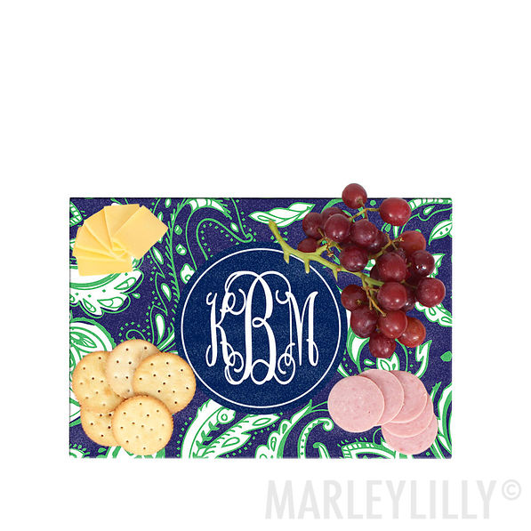 Monogrammed Medium Glass Cutting Board