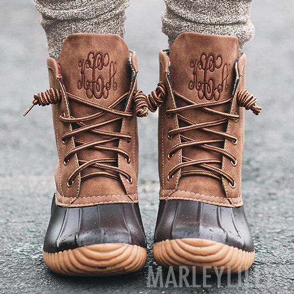 brown monogrammed duck boots with boot socks