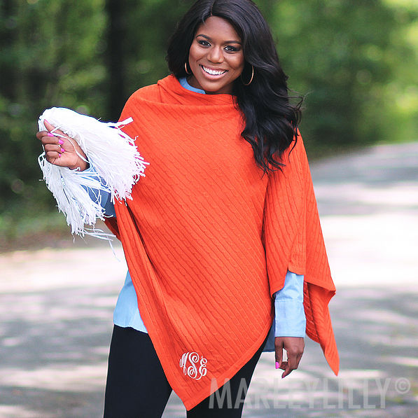 monogrammed poncho in purple