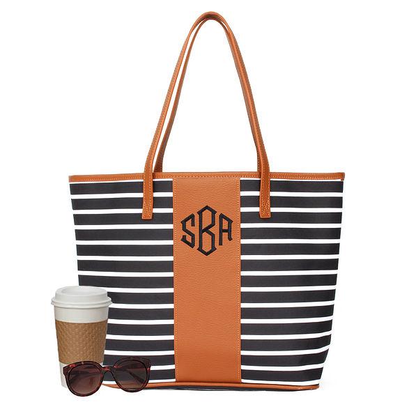 Cute Striped Monogrammed Tote Bag