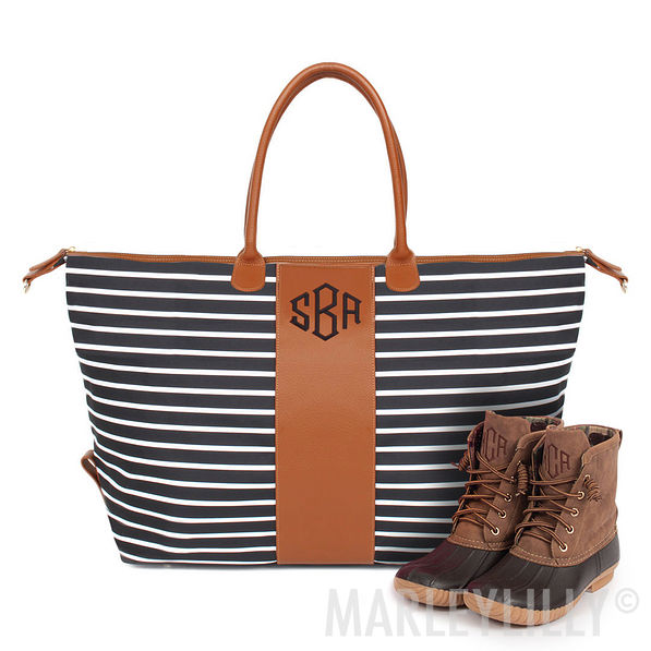 Black And White Striped Weekender Bag