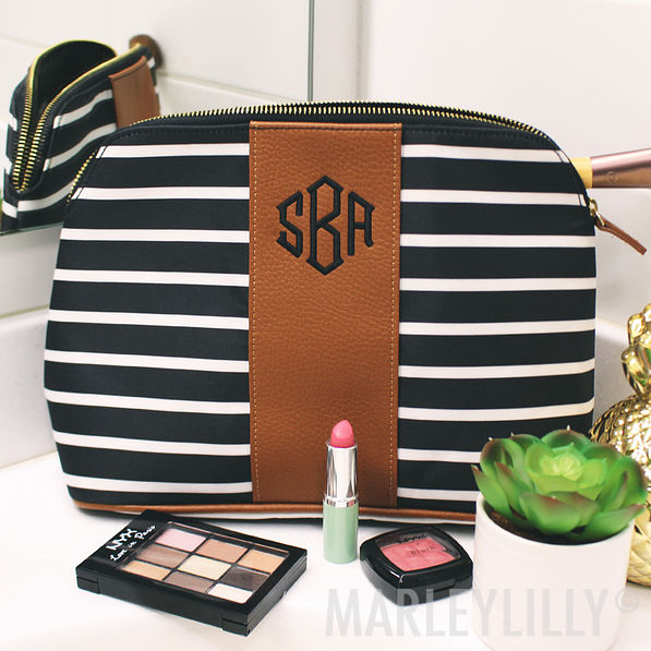 monogrammed black and white striped cosmetic bag