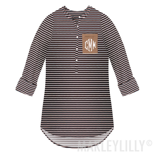 Monogrammed Striped Layering Tunic
