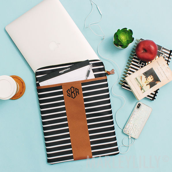 monogrammed black and white striped leather trim laptop sleeve