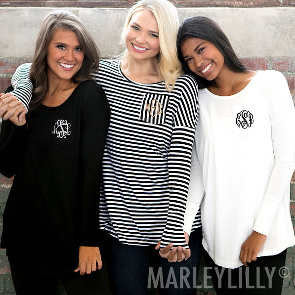 monogrammed tunic shirts in stripes, white, and black