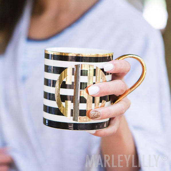 Black and White Striped Monogrammed Coffee Mug