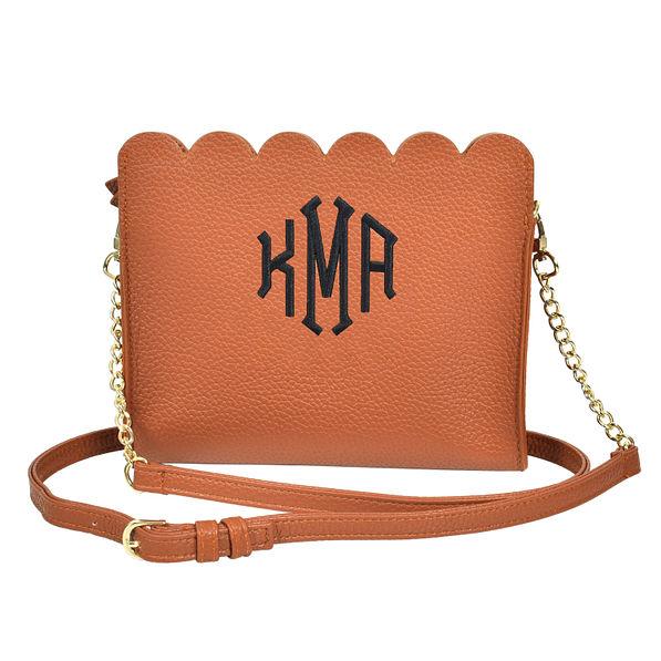 Monogrammed Brown Scalloped Crossbody Bag