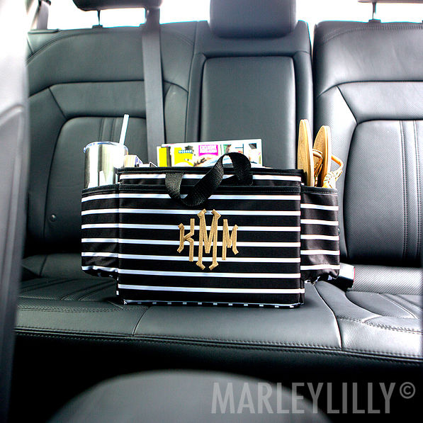 monogrammed car organizer pockets black and white striped