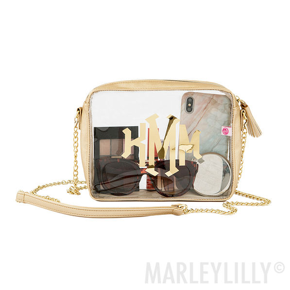monogrammed clear crossbody bag
