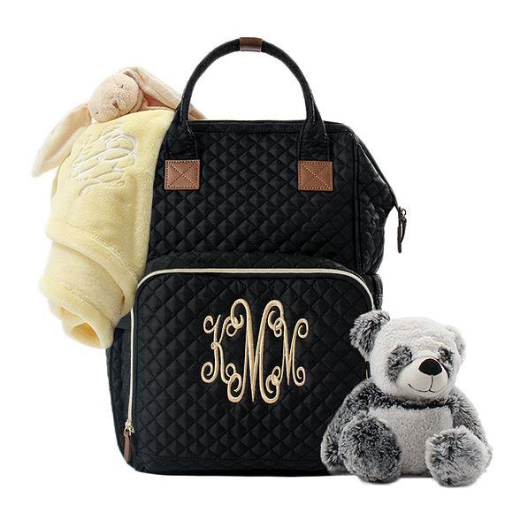 Monogrammed Diaper Backpack in Black