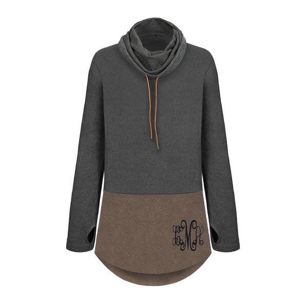monogrammed colorblock cowl neck tunic pullover sweatshirt