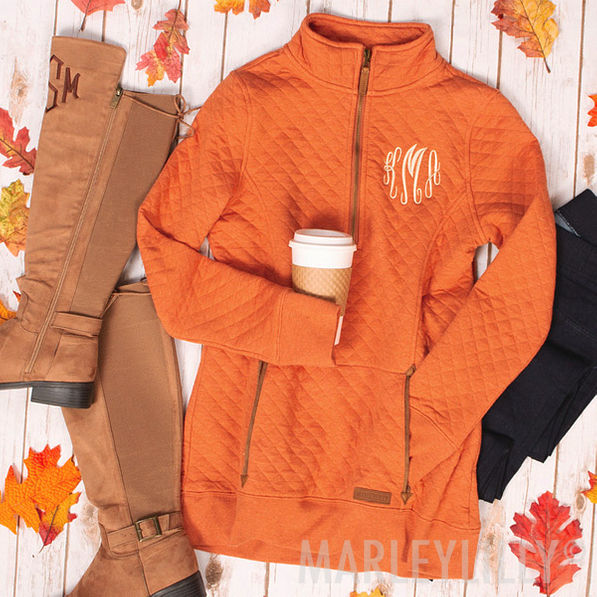 Monogrammed Quilted Pullover Sweatshirt