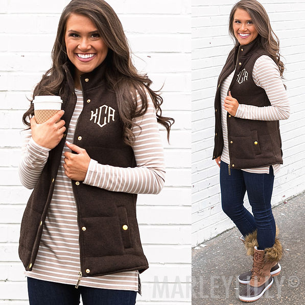 monogrammed heathered quilted vest in oatmeal