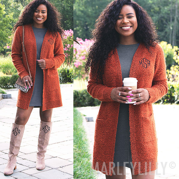 heathered camel boyfriend cardigan personalized