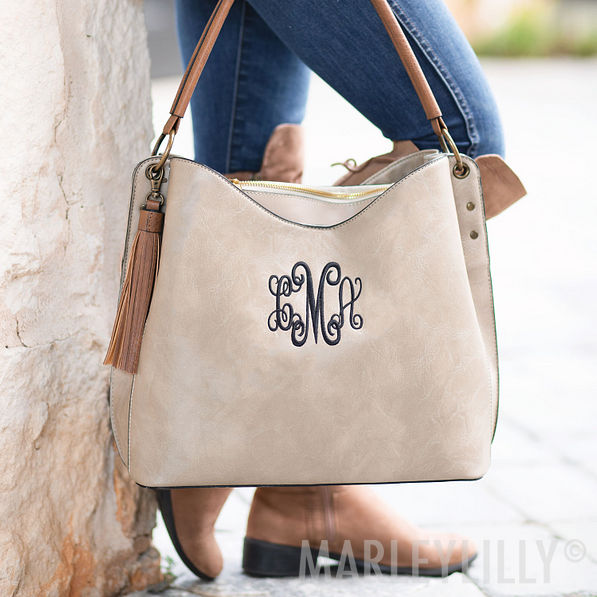 monogrammed cheyenne purse in gray