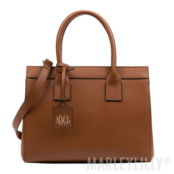 brown monogrammed luggage tag classy handbag