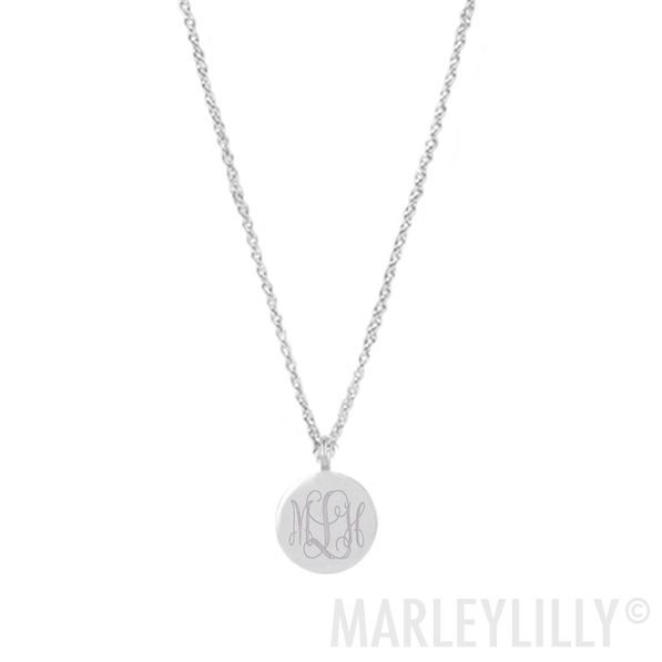 monogrammed taylor necklace in silver