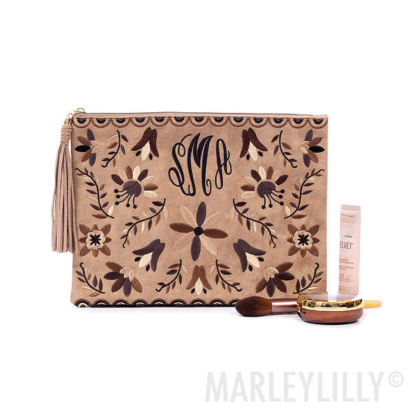 monogrammed suede embroidered mexicali clutch