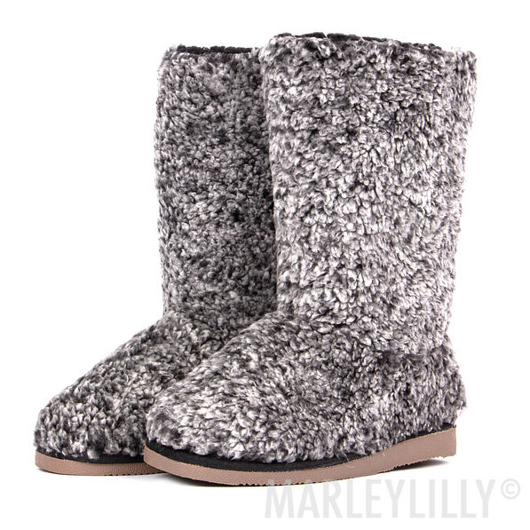 Sherpa Booties — Furry Slipper Boots