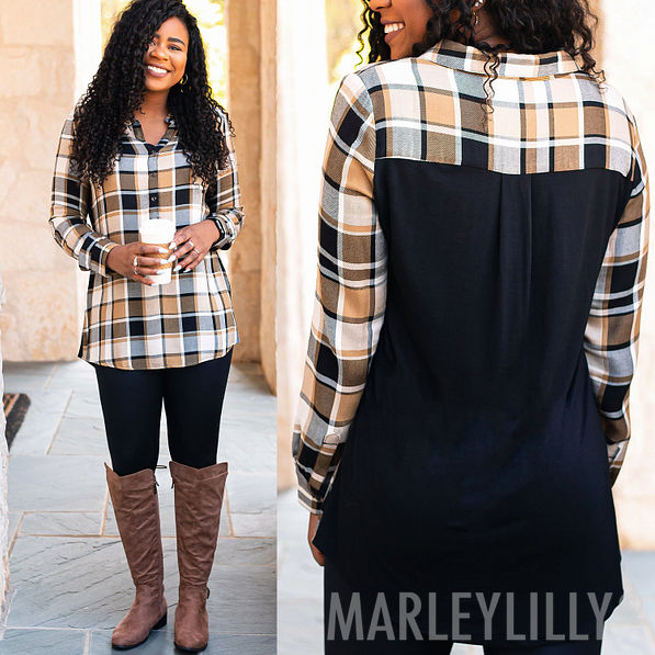 3 plaid collared layering tunics with stretchy backs