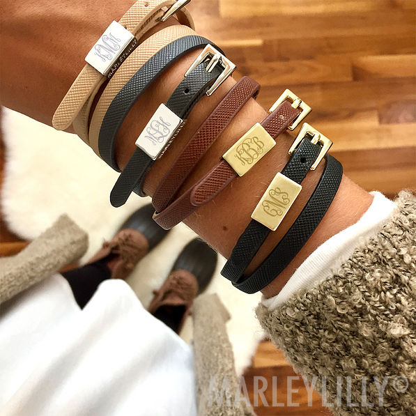 Monogrammed Wrap Bracelet