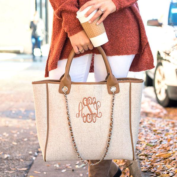 monogrammed charlotte handbag in sand