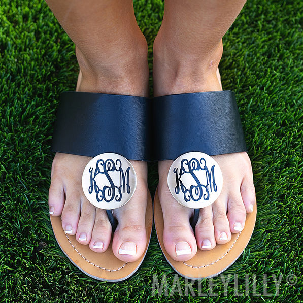 Monogrammed Disc Sandals in Black