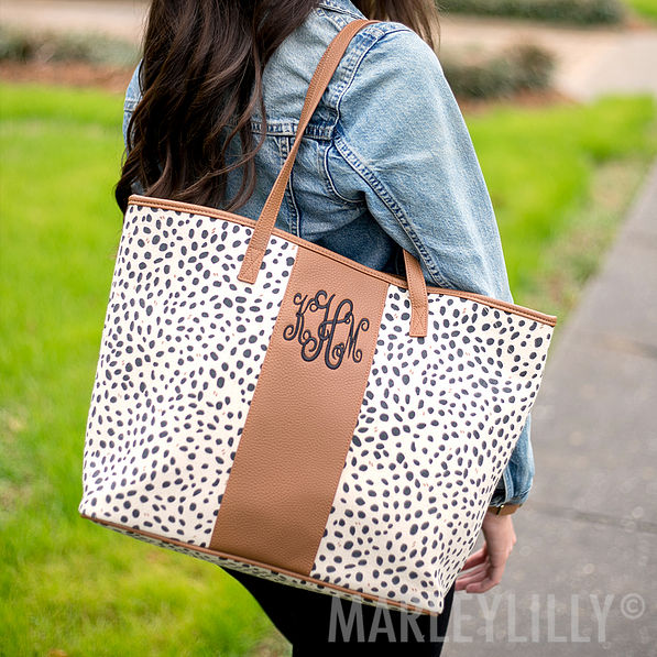 fall monogrammed leopard tote bag