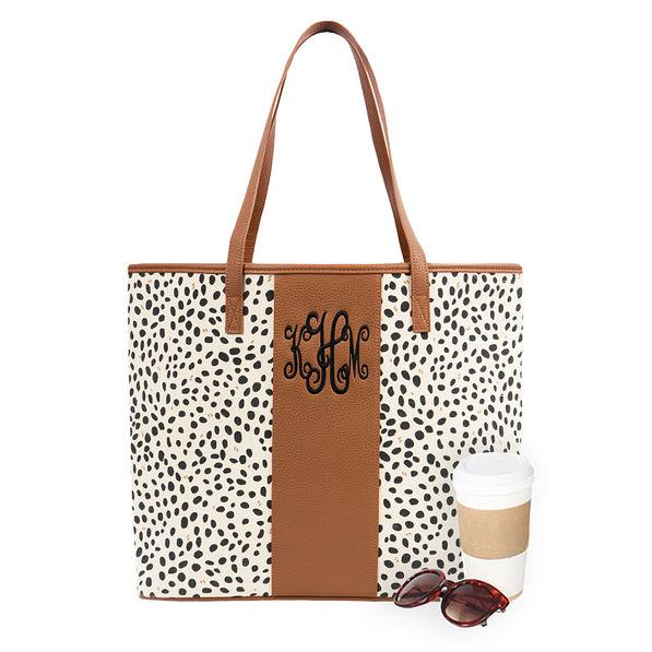 spring leopard print monogrammed tote bag
