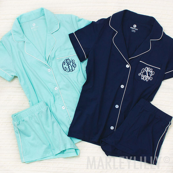 monogrammed shorties sleep set in mint
