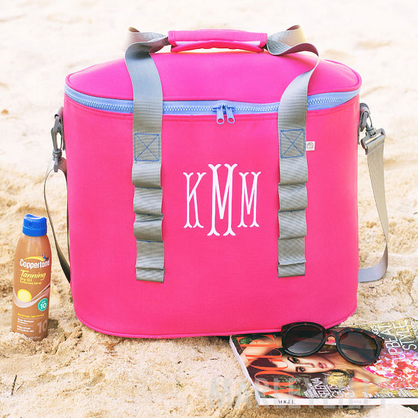 monogrammed cooler in hot pink