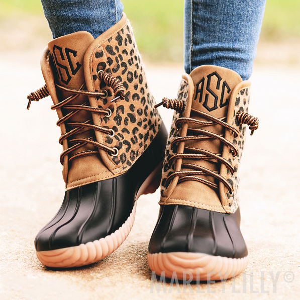 monogrammed leopard print duck boots