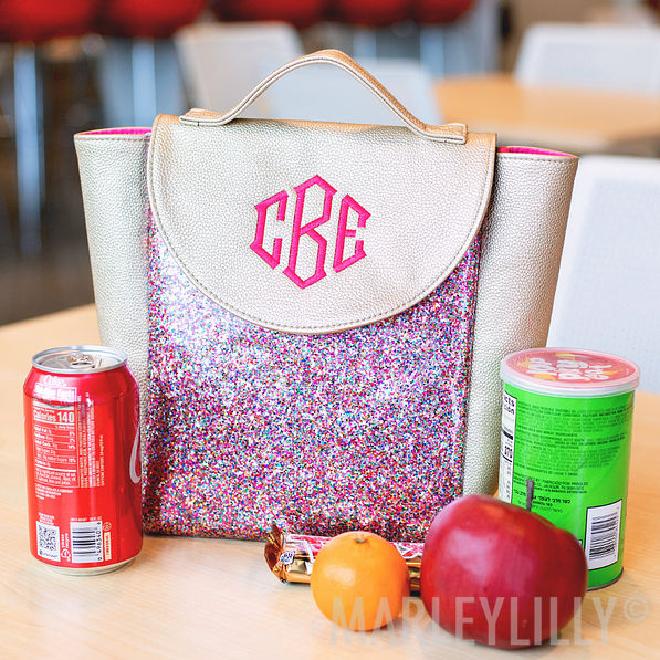 monogrammed confetti lunch box with apple