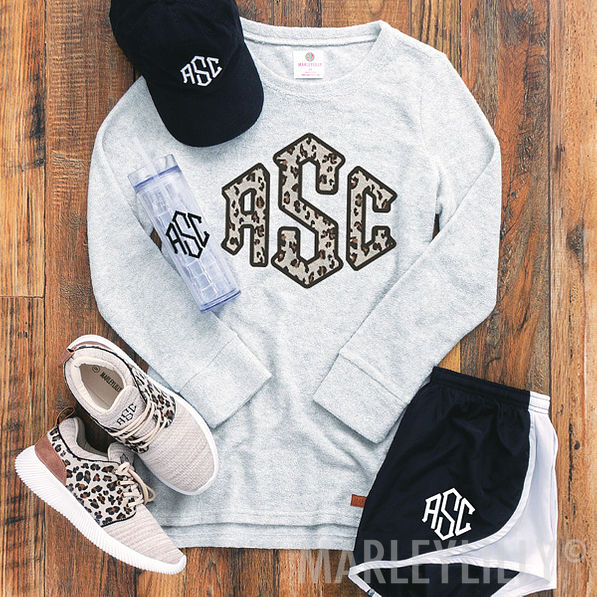 monogrammed terry pullover with leopard design and athletic shorts