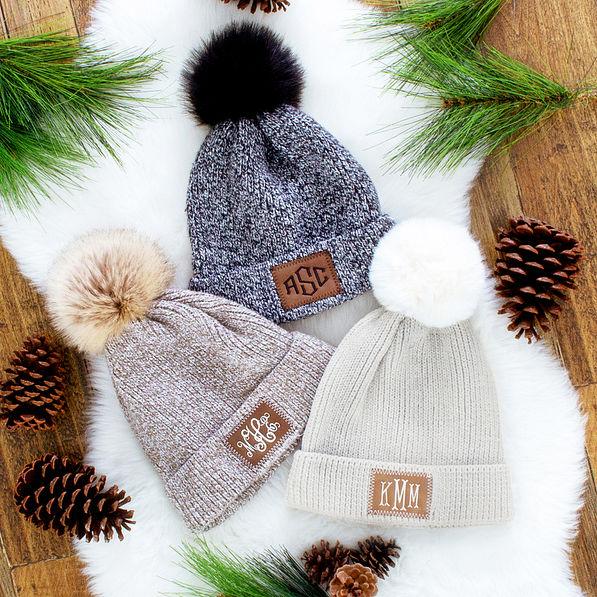 monogrammed marbelized knit beanie in brown