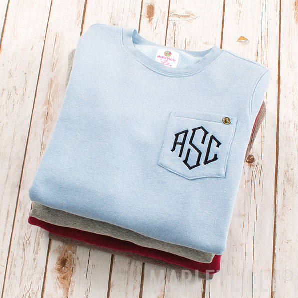 brown heathered crewneck monogrammed sweatshirt