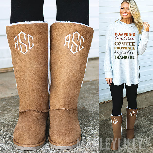 gray suede tall sherpa boots